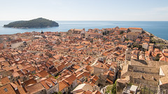 Dubrovnik Old Town from above and Otok Lokrum