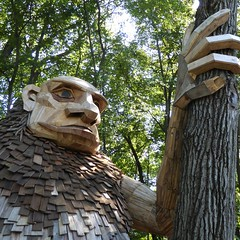 Lisle, IL, Morton Arboretum, Troll Sculpture (Mary Warren 11.4+ Million Views) Tags: lisleil mortonarboretum nature flora plants leaves foliage green trees art sculpture wood troll garden park