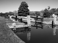 St Catherines Lock-E9260136-Edit-2 (tony.rummery) Tags: blackandwhite canal em10 guildford lock mft microfourthirds nationaltrust omd olympus reflections riverwey stcatherines surreyhills waterway england unitedkingdom gb