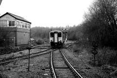 Tondu 80699bw (kgvuk) Tags: tondu station railwaystation railway tondustation maestegbranch train dmu dieselmultipleunit class1502 150258 arrivatrainswales
