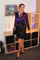 Deep puprle (Rikky_Satin) Tags: silk satin blouse leather skirt belt handbag highheels pumps shiny pantyhose nylons crossdresser transvestite transgender tgirl tgurl gurl