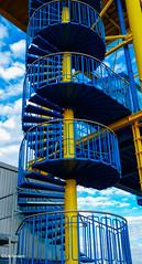 ~ Spiral Staircase ~ (eri-fer@t-online.de) Tags: bluesky dizzy updown walk bestview picture beautiful yellowblue colors stairs port harbour