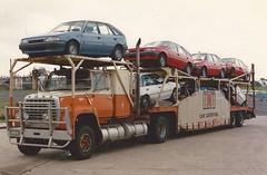 Ford Louisville: TNT (Australia) (PAcarhauler) Tags: truck trailer tractor semi carcarrier ford mercedes