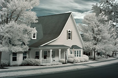 The Cottage (infrared) (dr_marvel) Tags: ir infrared rochester pittsford ny newyork house cottage trees foliage clouds