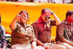 Police Monitoring Holi in Shri Dauji Temple, Chhabria India (AdamCohn) Tags: 017kmtobaldevinuttarpradeshindia abeer adamcohn baldev chhabria india shridaujitemple uttarpradesh colors geo:lat=27408345 geo:lon=77821906 geotagged gulal holi play wwwadamcohncom अबीर गुलाल baldeo