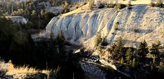 Fluted Bluffs (wyojones) Tags: wyoming sunlightbasin shoshonenationalforest sunlightcreek moraine gravels glacialdeposits pebbles erosion fluted bank bench trees water creek stream wyojones np