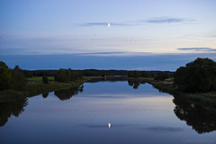 Calm flow (Joni Mansikka) Tags: autumn nature outdoor evening river landscape green fields trees sky clouds moon paimionjoki paimio suomi finland tokinaaf2880mmf28 atx280afpro
