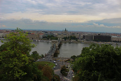 Budapest (Péter Vida) Tags: city sky bridge budapest duna water tree road river building
