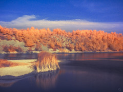 tale for fire and water (Ichi De) Tags: tale fire water oil paint real infrared landscape longexposure manualfocus omd reflection blue red