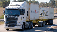 Passing Bowning (6/6) (Jungle Jack Movements (ferroequinologist)) Tags: rowans griffith kenworth k200 sticky fingers fruithaul caboolture qld nsw maddens harden tumut haulage truck art iveco scania qube logistics bowning hume highway new south wales hp horsepower big rig haul freight cabover trucker drive transport carry delivery bulk lorry hgv wagon road nose semi trailer deliver cargo articulated vehicle load freighter ship move motor engine power teamster tractor prime mover diesel driver cab cabin loud beast wheel exhaust double b grunt