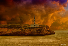 (Uwe Weigel) Tags: mallorca clouds sky travel landscape leuchtturm lighthouse sturm sea spain rock felsen mountains mittelmeer meer boot boat water photographer trip world pic view colors reisen wetter storm travelphotography danger