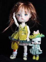 Charlotte and Tiddly Pomme (bentwhisker) Tags: dolls bjd resin secretdoll mongvol3 anthro rabbit bunny tokissi toki 3464