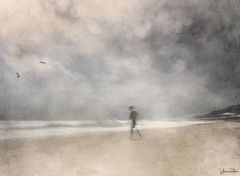 days that last forever . . . (YvonneRaulston) Tags: beach sky cloud birds sand man person boy figure texture sea water watercolour waves icm atmospheric art abstract artistry bokeh blur creativeartphotography calm colour creative clouds dream day desaturated digitalart digital emotive emotion fineartgrunge impressionist impact moody moments mysterious ocean sony soft photoshopartistry peaceful surreal vignette vintage vibrant bali yvonneraulston