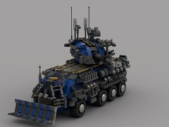 o6 robin tank ''Tusk Armored'' (V4) (demitriusgaouette9991) Tags: lego military army ldd armored powerful deadly tank turret transport future railgun vehicle whitebackground