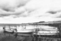 Glenstrup Sø - Både ved anløbsbro BW lys (Walter Johannesen) Tags: glenstrup sø landskab eftermiddag vand både joller