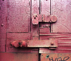 67_100318_07 (Mark Dalzell) Tags: pentax 67 6x7 120 slr camera kodak portra 160 film london england uk door lock padlock peeling paint