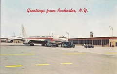 ROC07 (By Air, Land and Sea) Tags: rochester roc airport newyork postcard monroecounty monroecountyairport aircraft airplane airline aa americanairlines 707 boeing