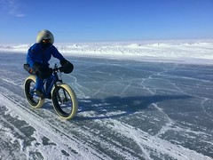 Cycling the ice road, keeping to where there is some snow for grip copy