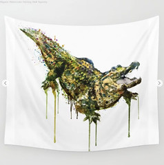 Alligator Watercolor Painting Wall Tapestry (marianv2014) Tags: alligator alligators watercolor watercolour aquarelle watercolorart watercolorposter watercolorwall wallart fineart walldecor alligatordecor alligatorwall reptile reptiles coldbloodedanimals splashes splatters drippingpaint watercolorpainting aquarelleart green brown kaki squareformat animal animals artgifts affordableart wildlife animalart contemporaryart moderndecor wildcreatures wildanimals illustration artwork art whitebackground zoology tapestries