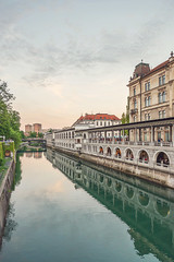 Ljubljna Center 1 (dfuzhion) Tags: slovenia ljubljana river city old architecture canal reflections dusk