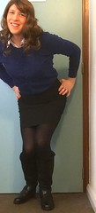 off to catch a train (karenpalin) Tags: black blue blouse business cardigan earrings hosiery boots legs lipstick makeup nylons officewear office pantyhose pose secretary skirt smile tgirl tg white