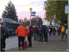 New Westminster Morning Bus BC18j08 LG (CanadaGood) Tags: canada bc britishcolumbia newwestminster morning bus people person skytrain tree sign vehicle canadagood 2018 thisdecade color colour cameraphone