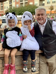 Daddy poses with the twins at a Halloween festival today (dionhinchcliffe) Tags: moblog iphonepics