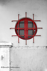 Secured (LUMEN SCRIPT) Tags: window red architecture artistic art abstrait abstraction decay derelict dream lines lumenscript minimalism nikon object perspective quantumentanglement thisphotorocks tones urbanphotography windows expression symmetry composition shadow geometry