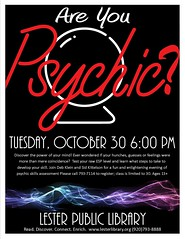Psychic Powers (Lester Public Library) Tags: 365libs lesterpubliclibrary librariesandlibrarians lpl lesterpubliclibrarytworiverswisconsin library libraries libslibs publiclibrary publiclibraries wisconsinlibraries tworiverswisconsin libraryprogram libraryprograms psychic areyoupsychic psychicpowers readdiscoverconnectenrich