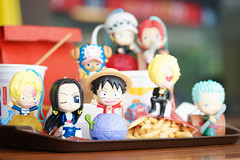 Bangkok, Thailand - Oct 20, 2018: A photo of Monkey d. Luffy and Straw hat pirate crews, One Piece character plastic toys from McDonalds' Happy Meal with Coke, french fries & burger on the background. (enchanted.fairy) Tags: action animation anime asian bandai blurred brand bucket cartoon character coke collection colorful comic concept culture cute donald drink editorial fastfood food fun happy hat japan japanese junk kid luffy manga mascot mcdonald mcdonalds meal model monkey nippon one onepiece otaku piece pirate set snack straw toei toy toys yellow
