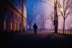 The long mile (ewitsoe) Tags: warsaw warszawa poland fog foggy mgla canoneos6dii erikwitsoe ewitsoe street city urban moody mood atmosphere cinematic manalone silhouette cold morning mist ladnscape vibe vibrant colorful lights shadows landscape urbanlandscape trees streetlight