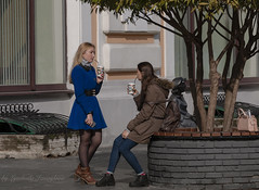 Delicious coffee and pleasant conversation (Lyutik966) Tags: nizhnynovgorod russia outside streetphoto girl woman coffee clothes style shoes blonde brunette coat bench