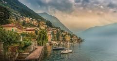 Misty Morning in Moltrasio (olemoberg) Tags: moltrasio lagodicomo como lake italy italia misty boats town walkingbridge
