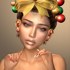 Christmas with The Skinnery (Chelsea Chaplynski ( Amity77 inworld)) Tags: chelsea catwa head face applier christmas lilo collab88 skinnery astralia pumec ears season hera pose santa nails besom lagyo headpiece merry