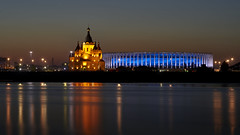 Sep 22, 2018 (pavelkhurlapov) Tags: church cathedral stadium bluehour river reflections lights sunstars longexposure cityscape colors sky water night tower building sunset dusk