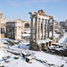 Roman forum covered in snow (Rome)