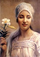 Woman with Flower (skaradogan) Tags: ottoman woman lady paintin osmanlı kadın hanımefendisi tablo resim painting tesettür modest dress muhafazakar eşarp başörtüsü headscarf türban hijab islamic hidschab حجاب veil tülbent