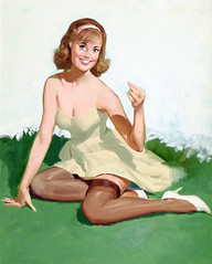 Portrait of a Girl by Gil Elvgren (gameraboy) Tags: gilelvgren pinup pinupart illustration painting vintage woman sexy portraitofagirl stockings nylons thighhighs