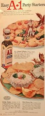 """""""Easy A-1 Party Starters"""" (saltycotton) Tags: a1steaksauce condiments horsdoeuvres mccalls vintage magazine advertisement ad 1958 1950s"""