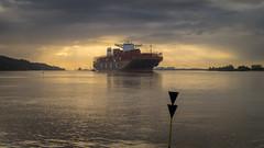 Elbabwärts (Torsten schlüter) Tags: deutschland hamburg elbe sonnenaufgang sunrise container containerschiff elbabwärts wasserzeichen himmel rissenerufer 25mm olympus 2018 schiff wasser