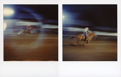 Barrel Racing (tobysx70) Tags: polaroid originals color 600 instant film slr680 roidweek roid week polaroidweek fall autumn october 2018 barrel racing high country stampede rodeo county road 73 fraser colorado co cowgirl horse rider galloping motion blur halo floodlights night nocturnal diptych polaradoone polarado 072118 day6 toby hancock photography