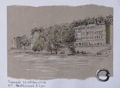 Lyon 1°. Quai de Saône (geneterre69) Tags: lyon dessin encredechine saône fleuve bâtiments quai kraft