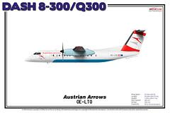 Bombardier Dash 8-300/Q300 - Austrian Arrows (The Art of Flying) Tags: aircraft airliner airplane bombardier propeller turboprop q300 dash8 dash8300 aviation aviationenthusiast artprint theartofflying planes illustration aua austrianarrows