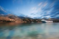 Port of Argostoli (zdenisaba) Tags: port ship boat sea water sky clouds horizont surface mountain mountainside kefalonia longexposure landscape land island trees