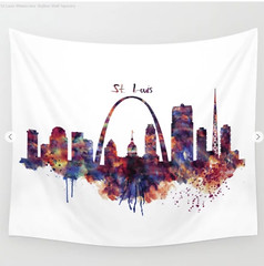 St Louis Watercolor Skyline Wall Tapestry (marianv2014) Tags: stlouis missouri skyline skylines silhouettes citysilhouette gatewayarch watercolor wallart skylineart skylinepainting skylinewall skylineposter skylinedecor aquarelle cityposter walldecor purple red blue splatters splashes digitalart digitalpainting watercolorpainting watercolorskyline cityart citysymbols modernpainting americancities roomdecor artgifts affordableart illustration artwork art colorful beautiful city whitebackground digitallygenerated decor landmarks tapestries