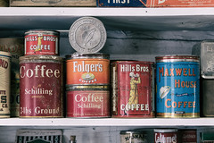 Coffee Cans (pmkelly) Tags: chloride coffee generalstore ghosttown newmexico pantry vintage