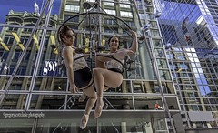 Duo suspended - still dangling from above.. (gregoryscottclarke photography) Tags: sparksstreet duo suspended chandelier aerial balancing ottawa hang dangle swing two