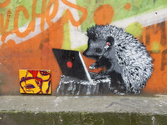 Hedgehog freelancer (aestheticsofcrisis) Tags: street art urban intervention streetart urbanart guerillaart graffiti postgraffiti berlin germany eu europe mitte stencil schablone pochoir