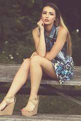 Somewhere in the park......... (donaldbrainard1) Tags: beautifulgirl fashionable model highheels blonďe beautifullegs