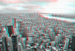 3D Anaglyph, South view from the Empire State Building (86th Floor), Midtown Manhattan, NY (AperturePaul) Tags: newyorkcity newyork unitedstates america city nikon d600 architecture manhattan skyscraper empirestatebuilding observatory view 3d stereo anaglyph